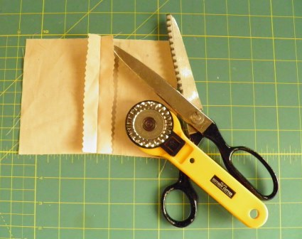Pinked seam finish with scissors and cutter