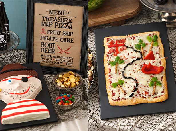 Cake Shaped Like Pirate and Pizza Shaped Like Treasure Map