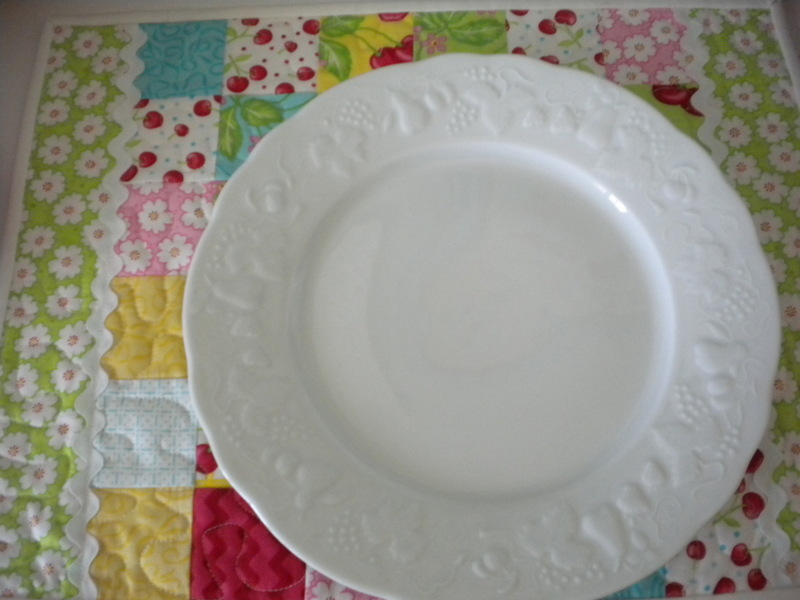 Quilted Placemat, White Plate on Top