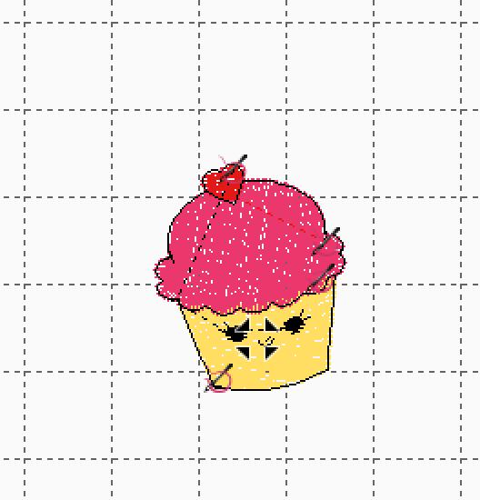 Cupcake Against Gridded Background