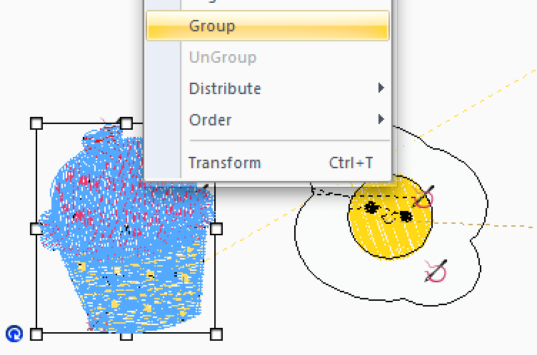 Screen Shot of Computer Program Functions Overlaying Design
