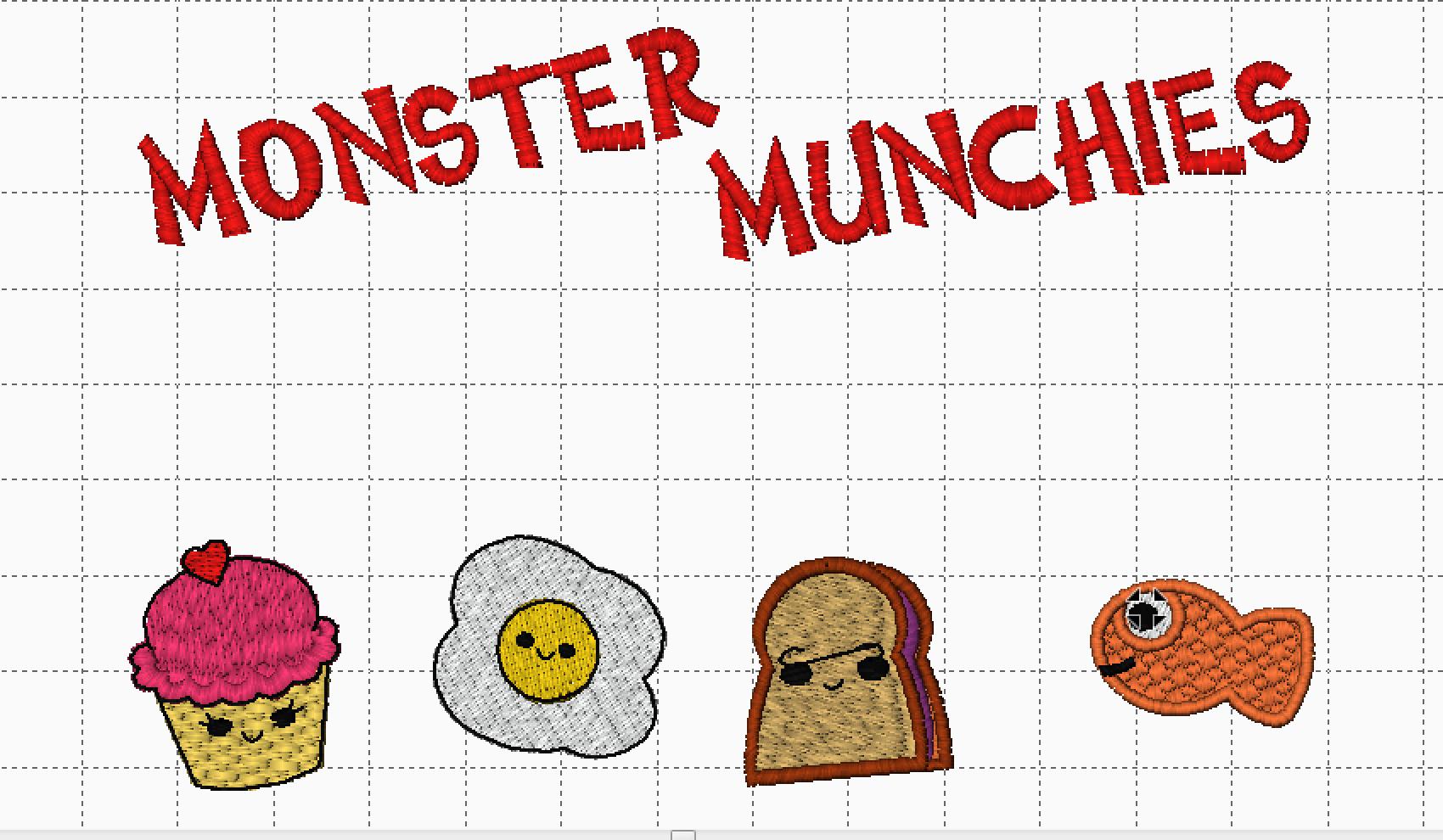 Monster Munchies Design on Gridded Background