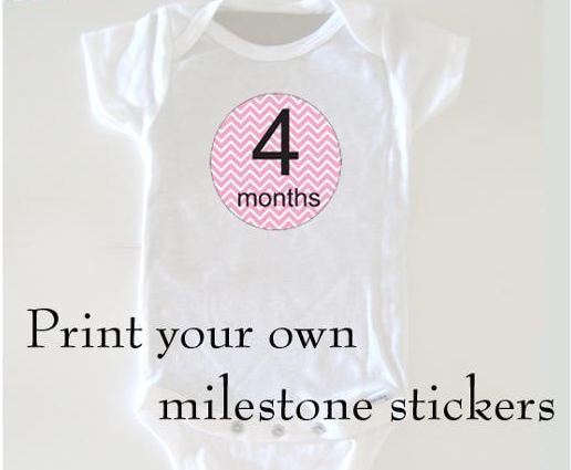 """Onsie with Sticker, Text Reading """"Print your own milestone stickers"""""""