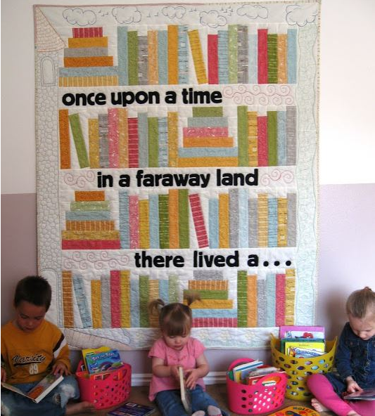 """Quilt Featuring Book Stacks and """"Once Upon a Time"""""""