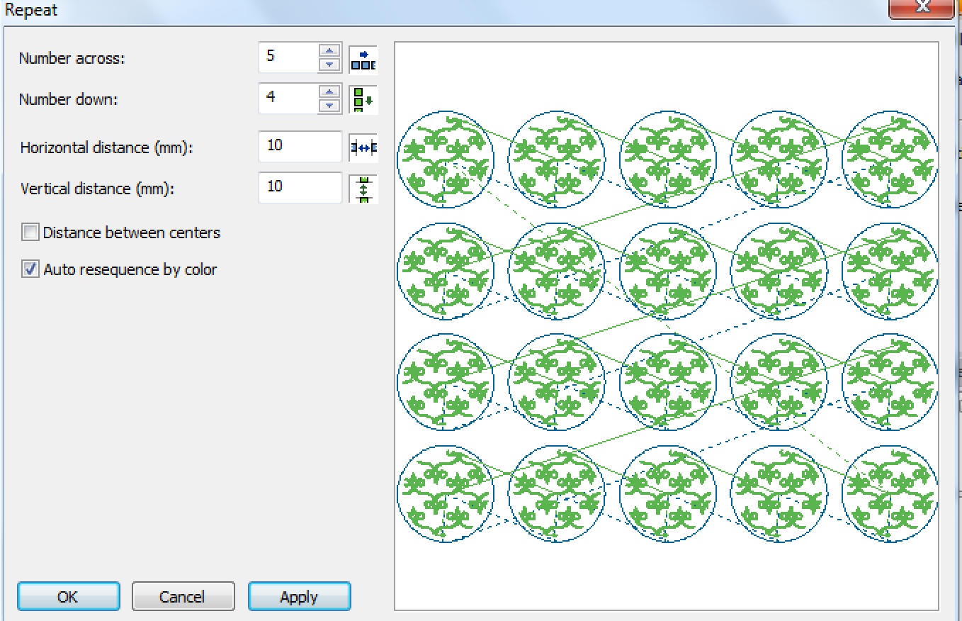 Screenshot of Embroidery Designs and Diminsions