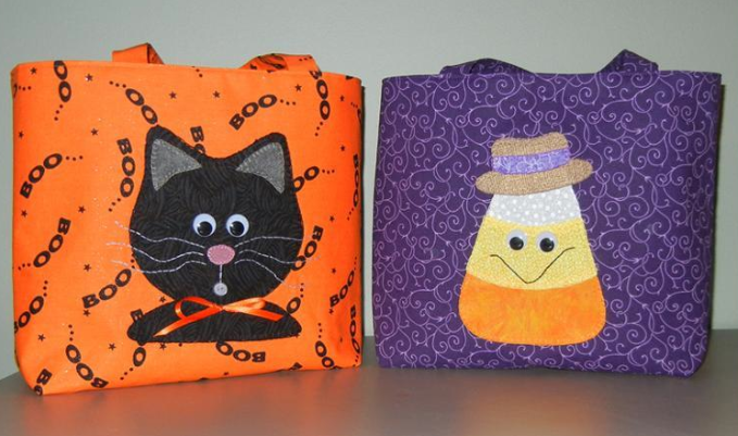 Treat Bags with Cute Black Cat and Candy Corn