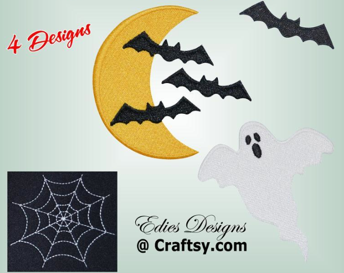Embroidered Ghost, Crescent Moon and Bats