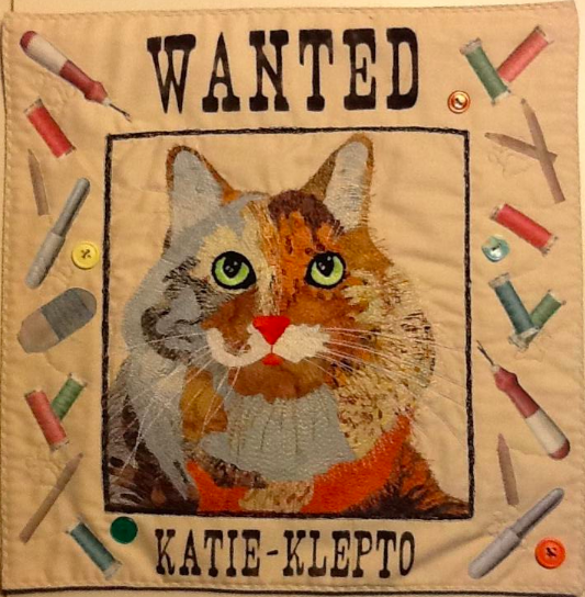 """Quilt Featuring Cat with """"Katie-Klepto"""" Text"""