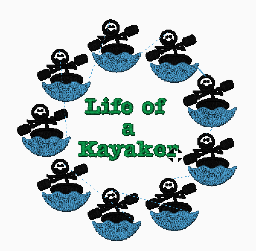 """Embroidered Kayakers and Text Reading """"Life of a Kayaker"""""""
