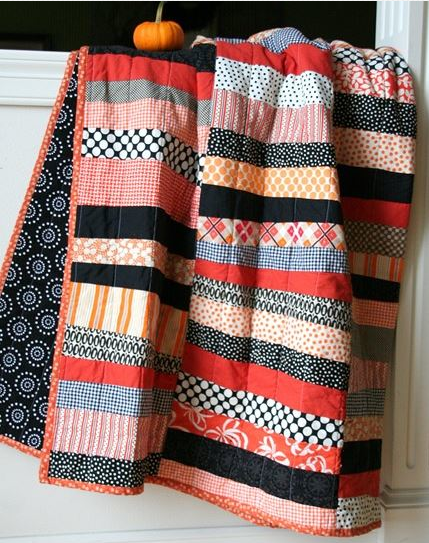 Autumn-Colored Striped and Patterned Quilt
