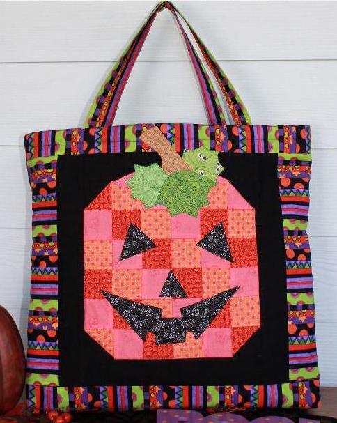 Quilted Halloween Bag with Pumpkin Design
