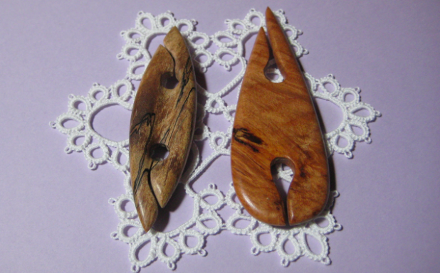 Two Wooden Tatting Shuttles