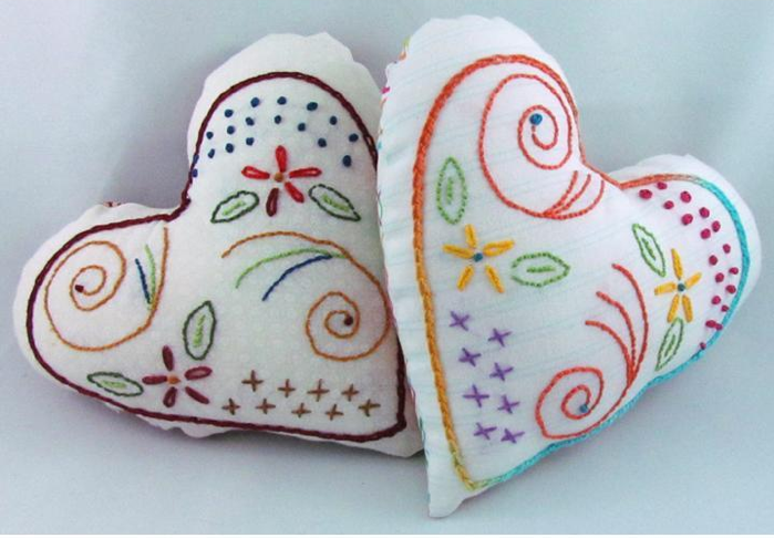 White Heart-Shaped Pin Cushions with Colorful Embroidery
