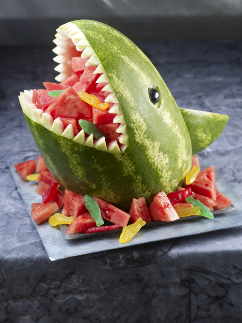 Watermelon Shaped Like Shark Swallowing Swedish Fish