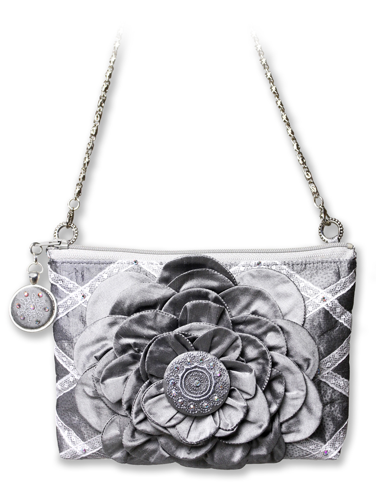 Silver Purse with Flower in Center