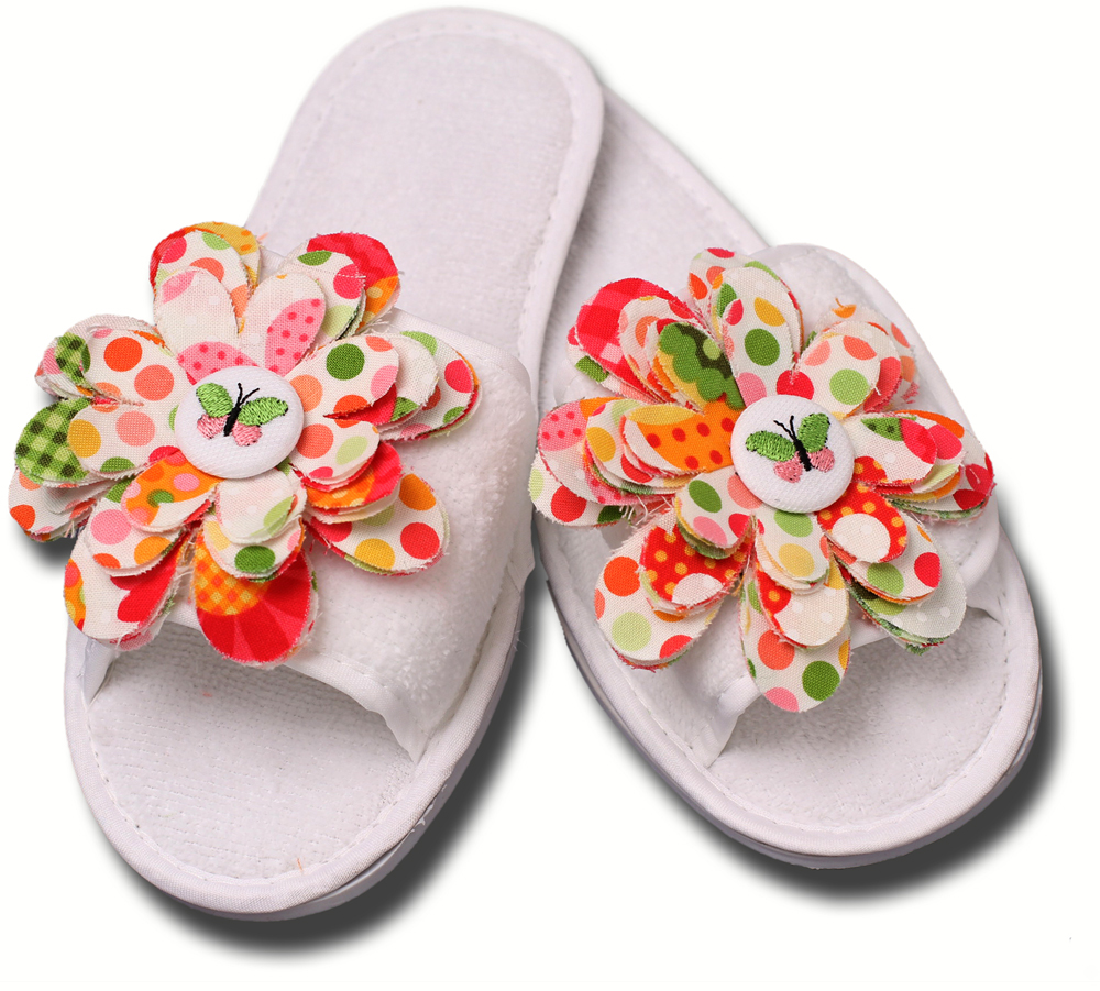 Slippers Decorated with Embroidered Flowers