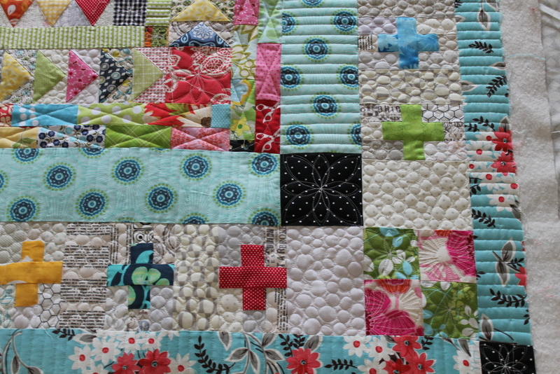 Quilt with Flying Geese Pattern, Crosses, Squares and Rectangles