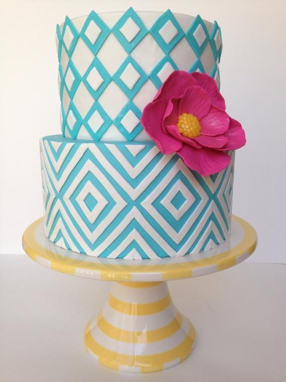 Blue & White Chevron-Themed Cake