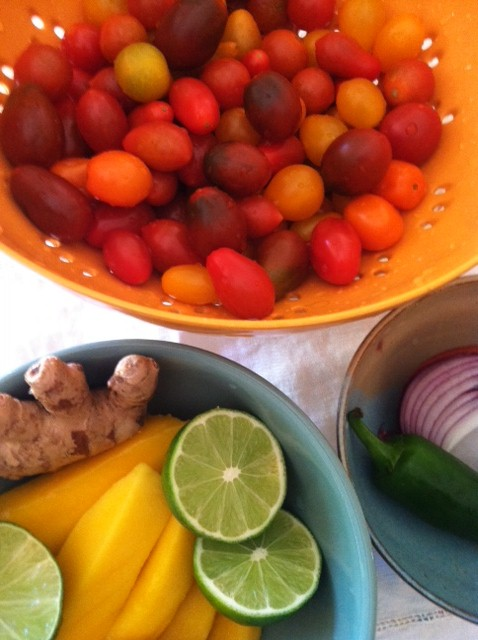 Bowls of Vegetables, including Tomatoes in Colander, Onion, Peppers