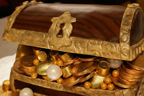 Cake Shaped Like Treasure Chest Containing Chocolate Coins