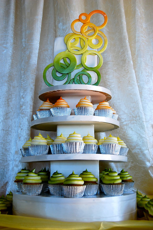 Cupcake Tower with Modern Design Topping