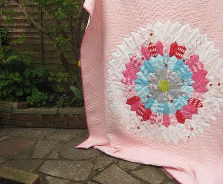 Pink Quilt with Dresden Plate in Center