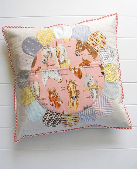 Dreden Plate Pillow, Horse-Patterned Fabric in Center