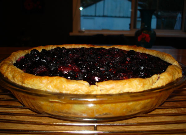 Dark Photo of Pie in Glass Pan