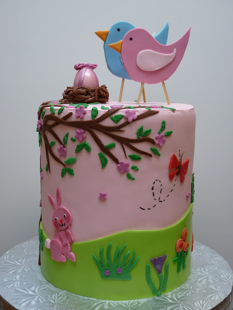 Double Barrel Tall Cake Topped with Birds, on Bluprint