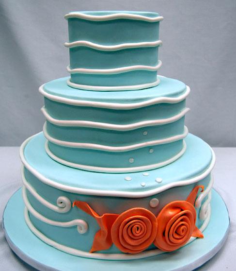 Modern Ocean Wedding Cake