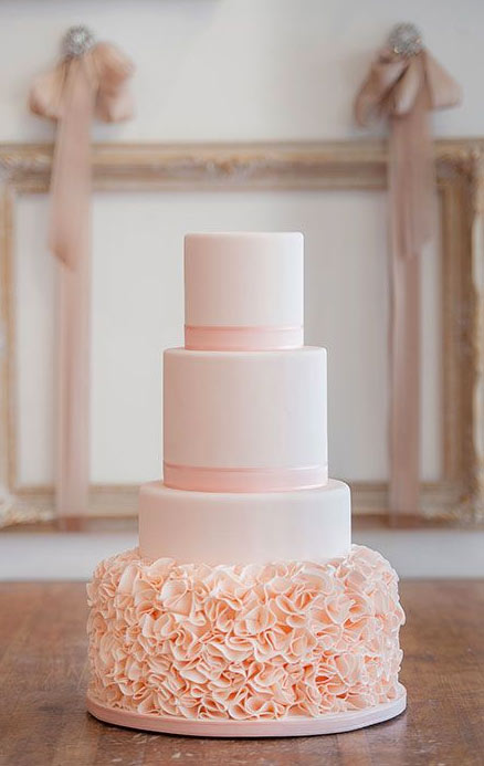Light Pink Tiered Cake with Ruffled Bottom
