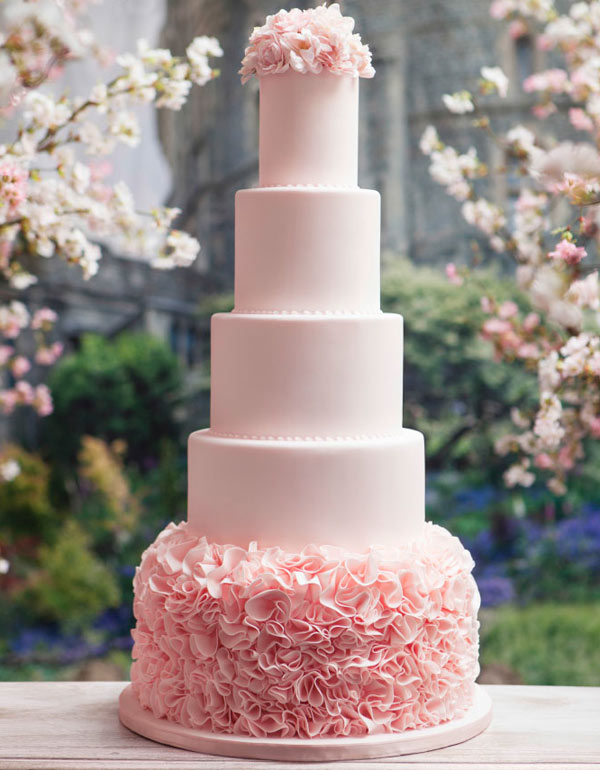 Tall, Tiered Pale Pink Cake, Ruffles on Bottom, Roses on Top