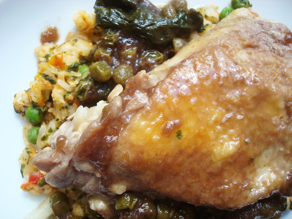 Close Up on Braised Chicken with Rice