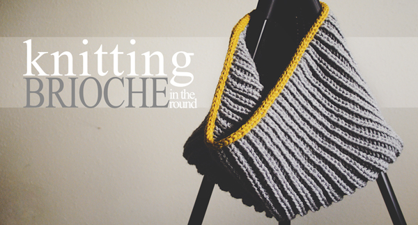 "Circular Scarf on Knitting Needles, Text Reading ""Knitting brioche stitch in the round"""