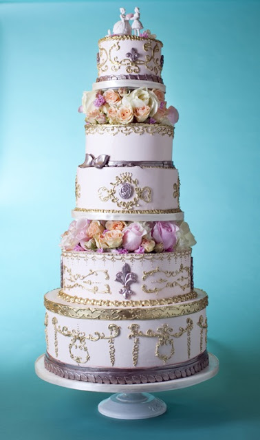 Ornate Purple Tiered Cake with Gilding and Roses