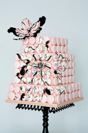 Square Cake Decorated with Macaroons, Topped with a Sugar Flower