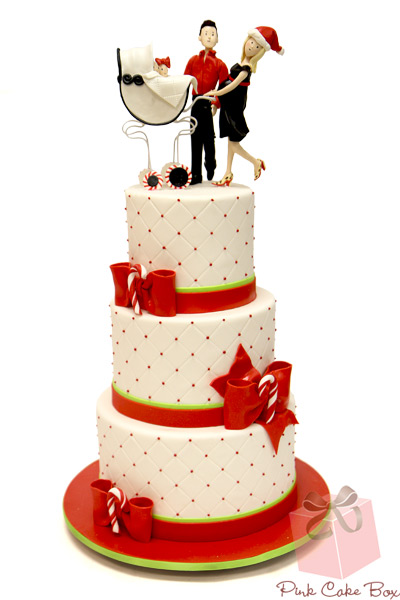 Tiered Red and White Baby Cake with Fondant Toppers