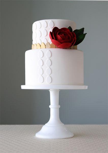 Two Tiered White Cake with White and Gold Polka Dots, Deep Red Rose