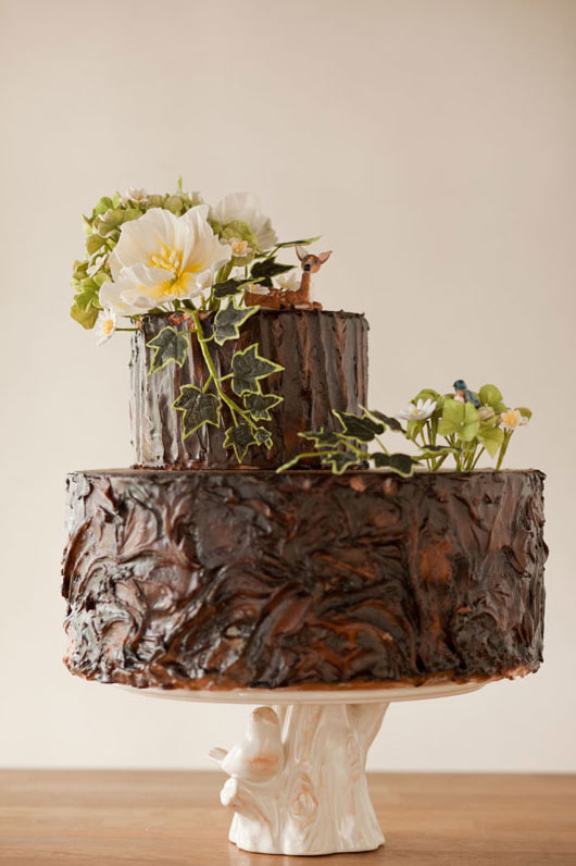 Two Layer Chocolate Cake with Green Fondant Leaves and Flowers