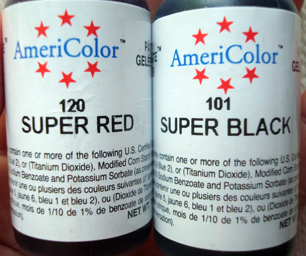 Two Containers of Food Coloring, one Super Red, one Super Black