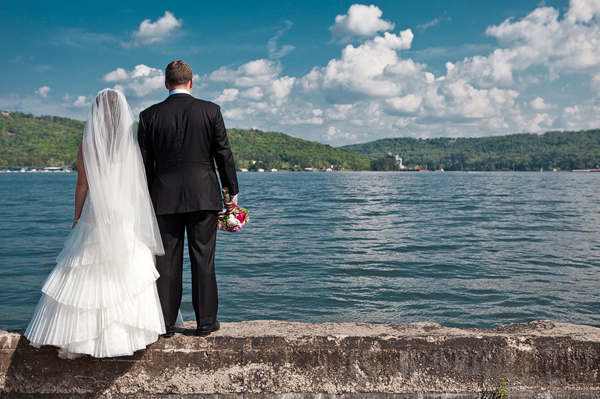 Image of Bride and Groom Looking Out Over Lake