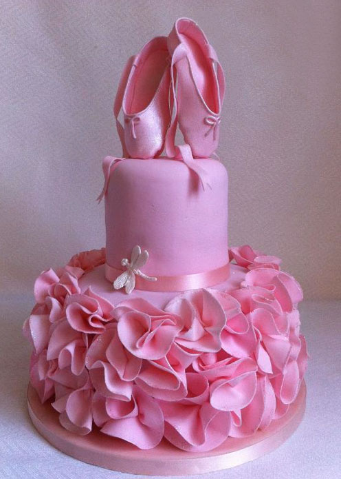 Pink Tiered Cake Topped with Fondant Pointe Shoes