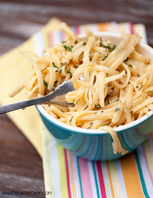 Blue Bowl Filled with Alfredo Pasta