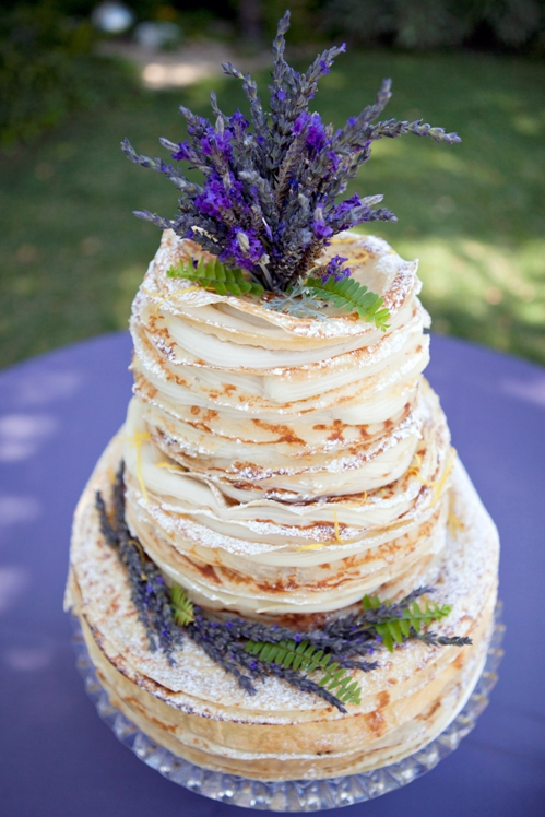 Tiered Crepe Wedding Cake Topped with Lavender