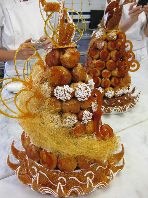 Tall Croquembouche Wedding Cake