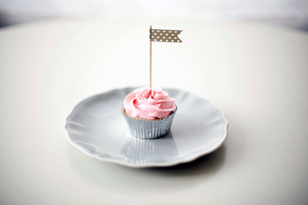 Cupcake with Pink Icing and Little Flag
