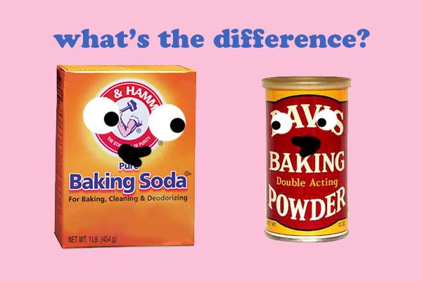 Cartoon of Baking Soda vs Baking Powder