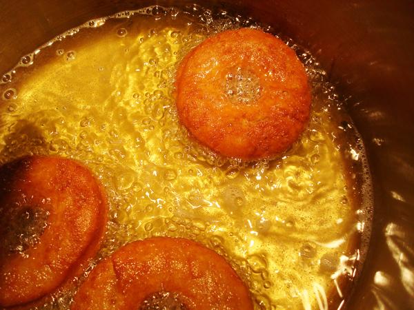 Doughnuts Frying in Pan