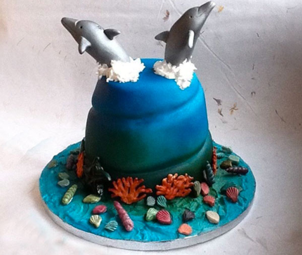 Cake Featuring Two Sugar Dolphins