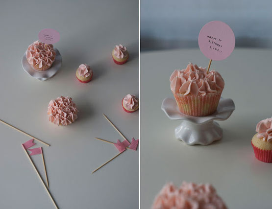 Pink Cupcakes, Next to Little Flags, Cupcake Marker